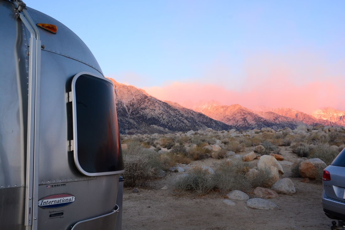 sunrise, airstream, trailer, volkswagon