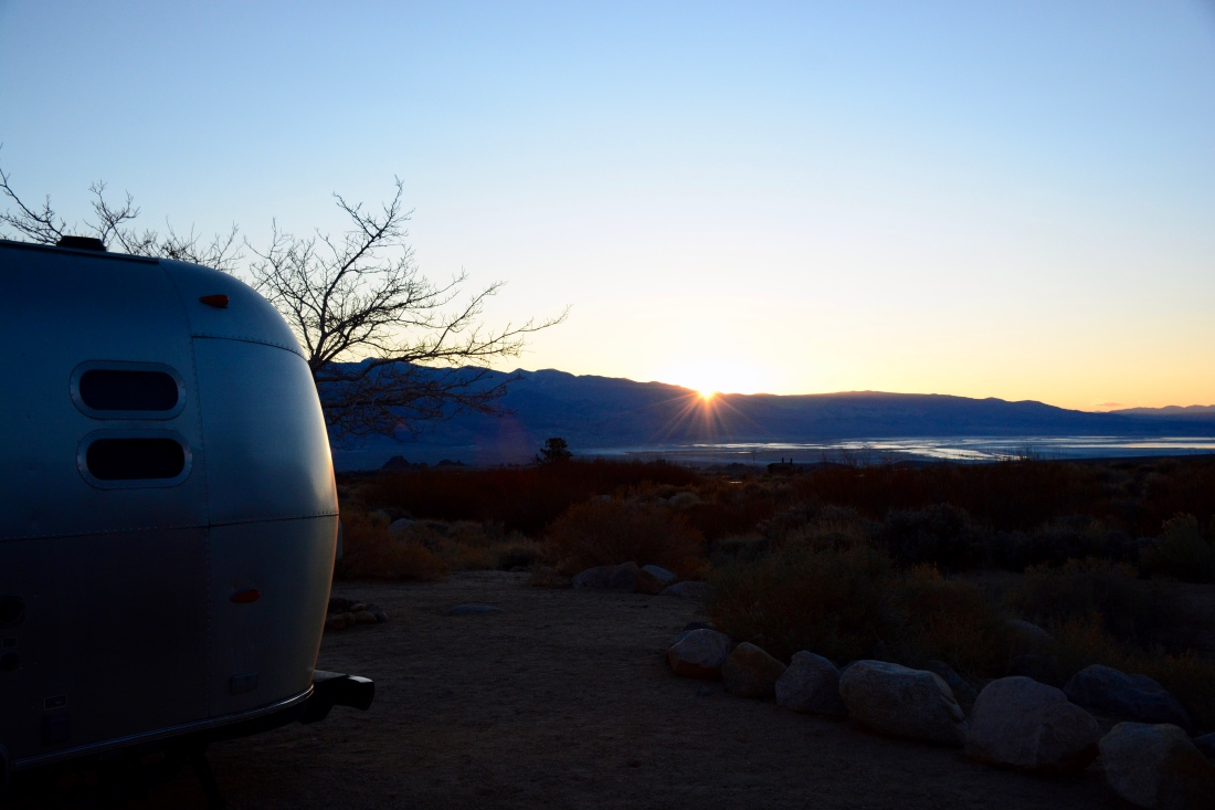 sunrise, alabama hills, airstream, trailer