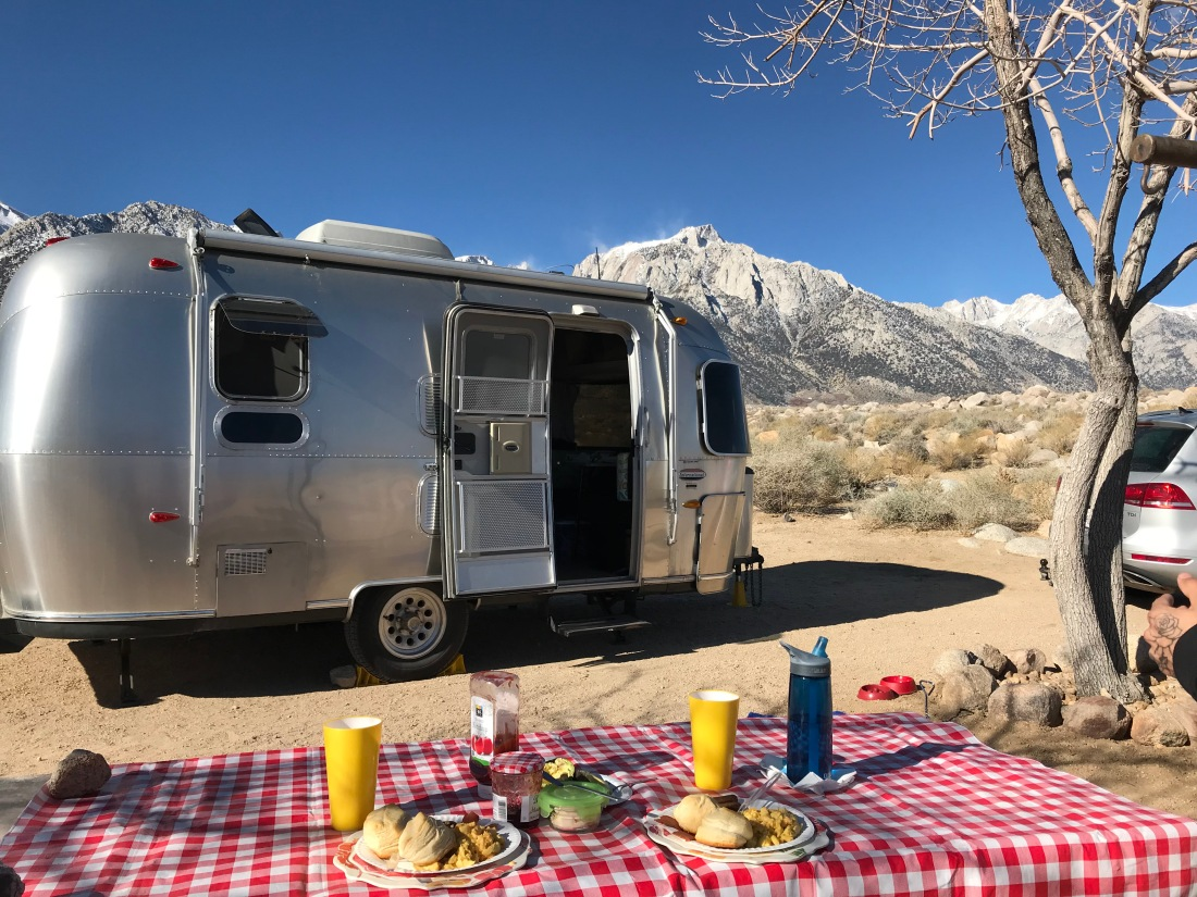 airstream, breakfast outdoors, mount whitney